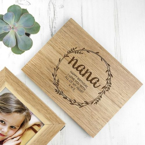 Wreath Midi Oak Photo Cube Keepsake Box